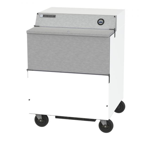 "School Milk Cooler, forced air, 34""W x 33-5/8""D x 46-7/8""H, 13.59 cu. ft., single"
