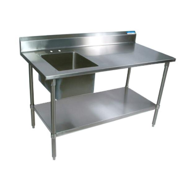"Work Table With Prep Sink, 60""W x 30""D x 41-3/4""H overall size, 16"" wide x 20"""