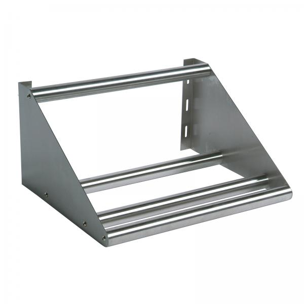 "Tubular Dish Shelf, wall mount, 22""W, slotted mounting holes, 1-5/8"" O.D. tubing"