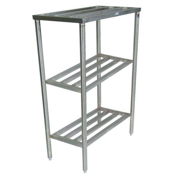 "Cooler Rack, 18"" W x 71"" L x 60"" H, 3-shelf, stainless steel construction & bullet"