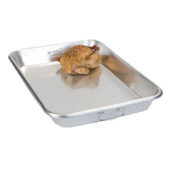 "Bake Pan, 19 qt., 26""L x 18""W x 3-1/2""H, reinforced rolled edge, riveted drop handles"