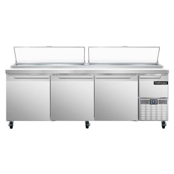 "Pizza Prep Table, 93""W, three-section, 32.0 cu ft capacity, forced air, 300 series stainless"
