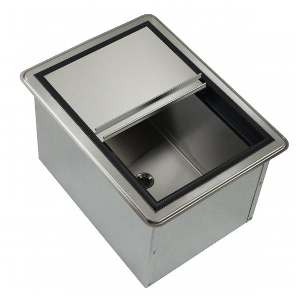 "Krowne Ice Bin, drop-in, 20""W x 15""D O.A., 50 lbs ice capacity, 10"" deep stainless"