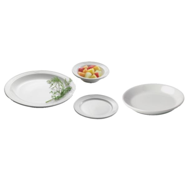 "Entree Plate, 7-3/4"" dia., round, for conduction retherm systems, dishwasher safe, embossed"