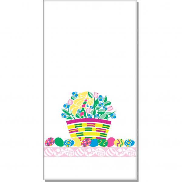 "Dinner Napkin, 15"" x 17"", 1/8 fold, 2-ply, facial quality, paper, Easter basket design"