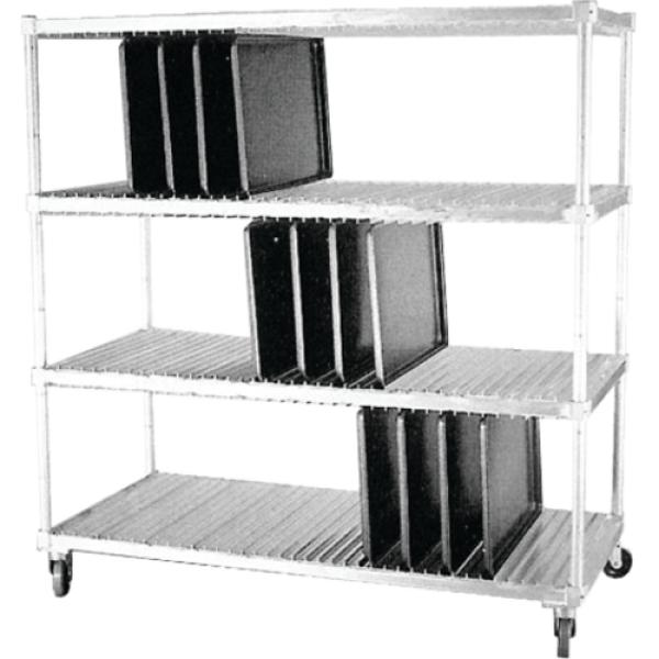 "Tray Drying Rack, 63-3/4"" x 28"" x 74-1/2""H, three shelves, open tubular shelving"