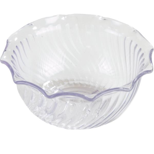 "Tulip Bowl, 8 oz., 4-5/8"" dia. x 2-1/8""H, swirl, dishwasher safe, BPA free, SAN, clear, NSF"