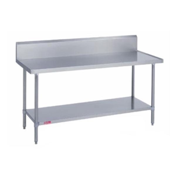"Work Table, stainless steel top & riser, 24"" wide top, 10""H riser with marine edge"