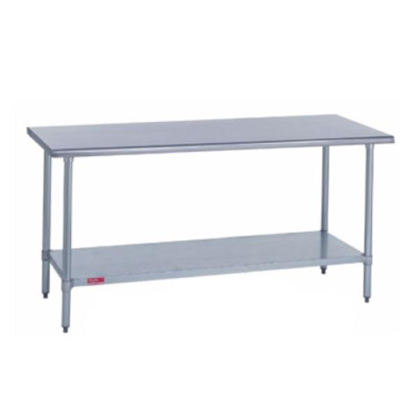 "Work Table, stainless steel top, 30"" wide top, without splash, 144"" long, with stainless"