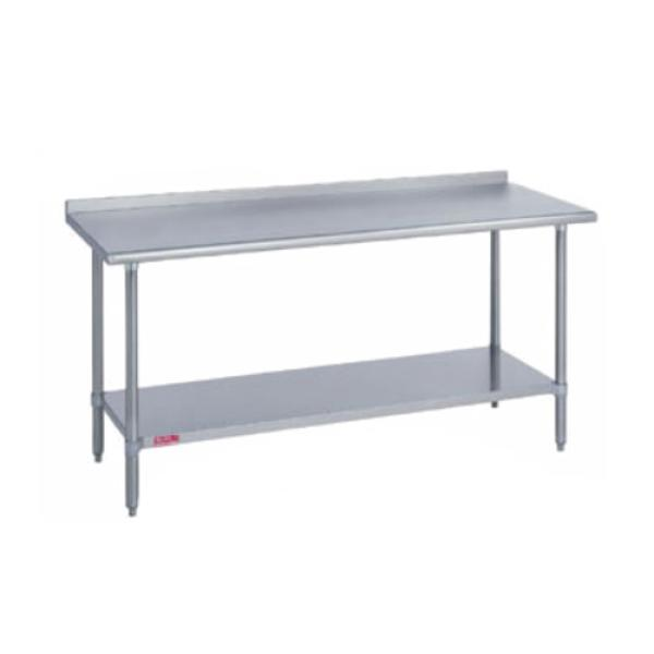 "Work Table, stainless steel top & riser, 30"" wide top, with 1-1/8""H riser, 48"""