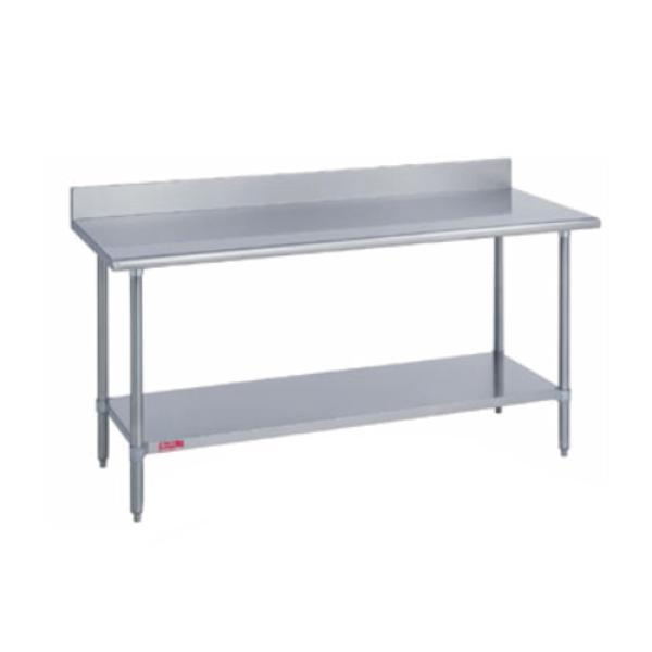"Work Table, stainless steel top & riser, 30"" wide top, with 5""H riser, 120"" long"