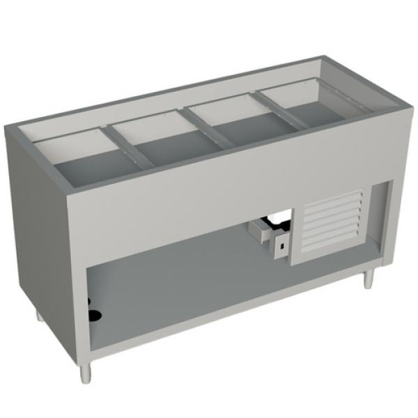 "AeroServ™ Cold Pan Unit, 60""W x 24-1/2""D x 36""H, 20 ga stainless steel top, (4)"
