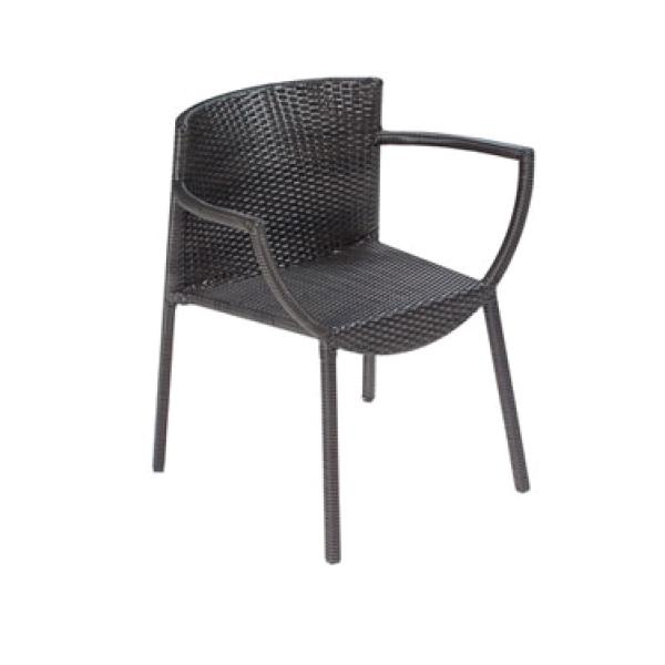 Delta Stacking Armchair, aluminum frame wrapped with dark brown (WB#41) synthetic wi