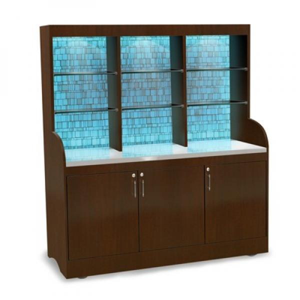"Luxe Series Mobile Back Bar, 27-1/2""W x 70""L x 78""H, wave style, wood ve"