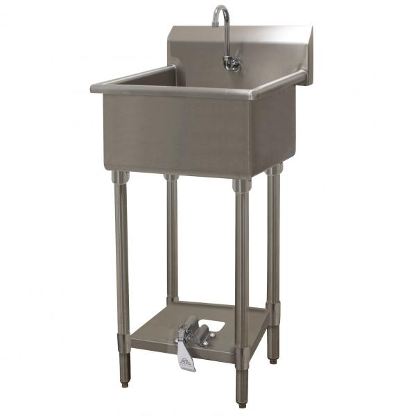 "Service Sink, floor model, with toe-operated push valve, 24""W x 18""D x 12"" deep bowl"