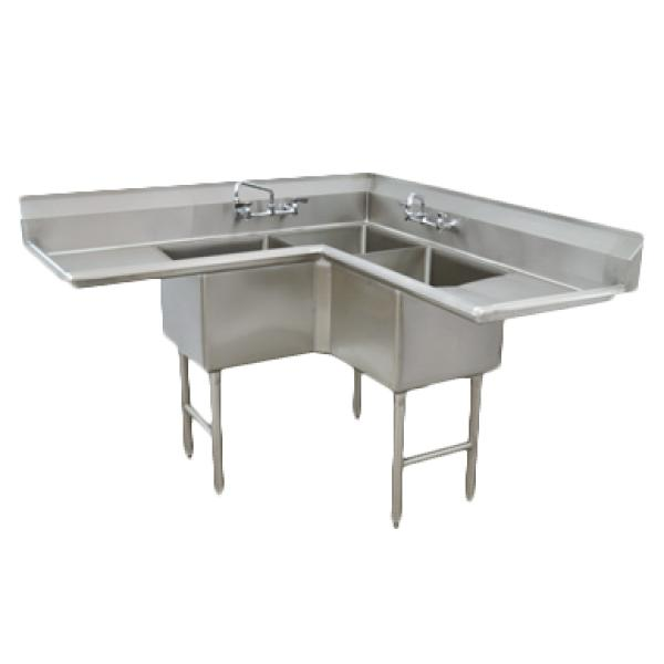 "Fabricated NSF Corner Sink, 3-compartment L shaped, 18"" right & left drainboards, bowl size"