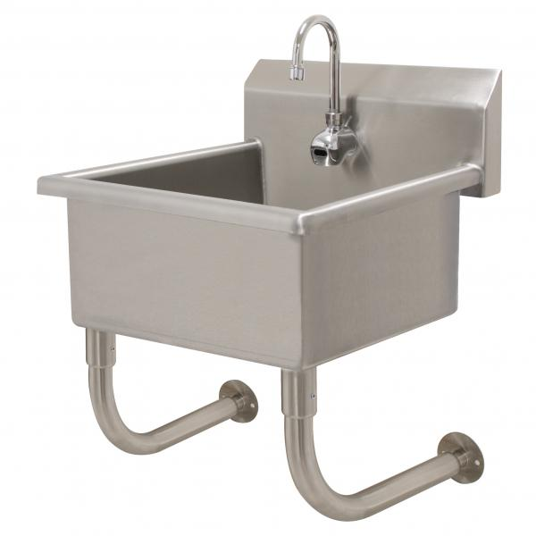 "Service Sink, wall mounted, with electronic faucet,  24""W x 18""D x 12"" deep bowl, 16 ga"