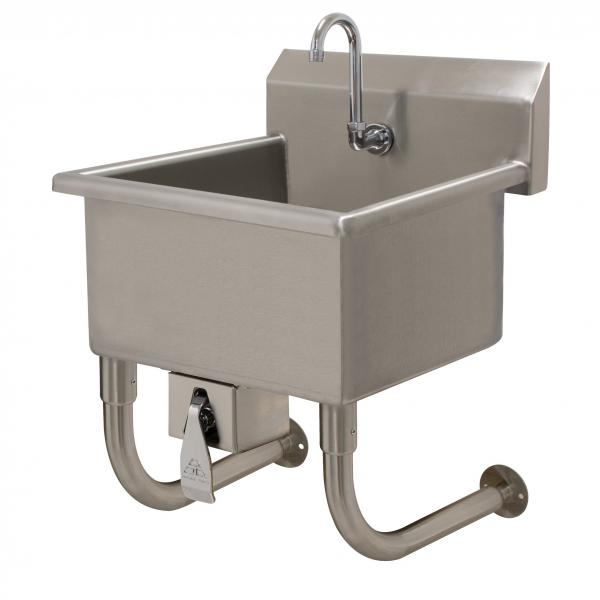 "Service Sink, wall mounted, with knee valve, 24""W x 18""D x 8"" deep bowl, 16 ga"