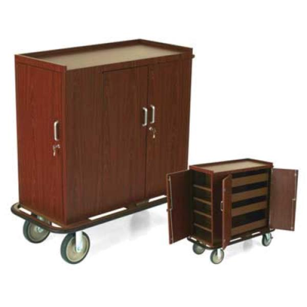 Beverage Restocking Cart, laminate cabinet finished, dry goods side cabinet, 3-sided top