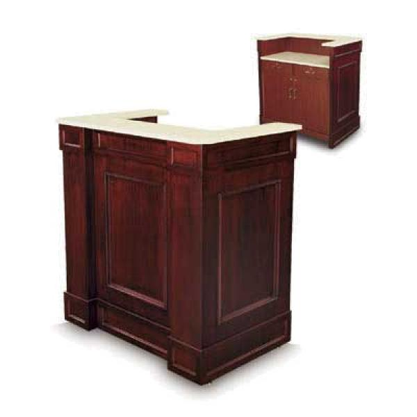 "Host Station, 45""W x 29-1/2""D x 47""H, traditional style, wood veneer&#44"