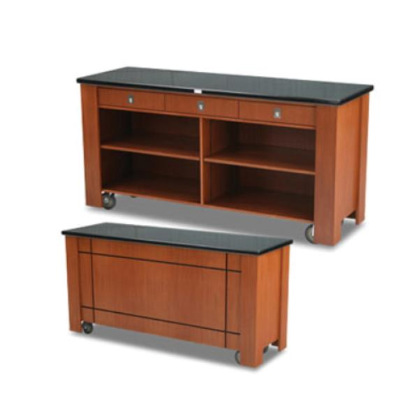 Waiter′s Station, wood veneer, avonite top, (3) drawers, three-sided w