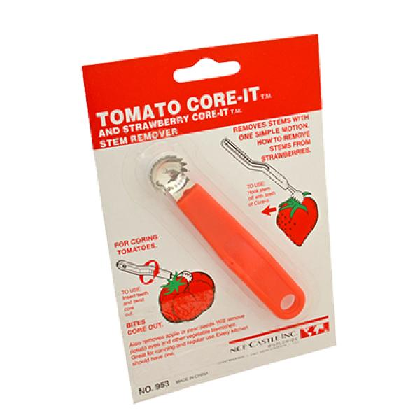 Tomato / Strawberry Corer, plastic red handle, stainless steel