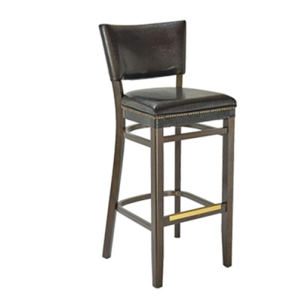 Cool Barstool Armless Padded Back Drop Seat Footrest With Brass Kick Plate European Beechwood Caraccident5 Cool Chair Designs And Ideas Caraccident5Info