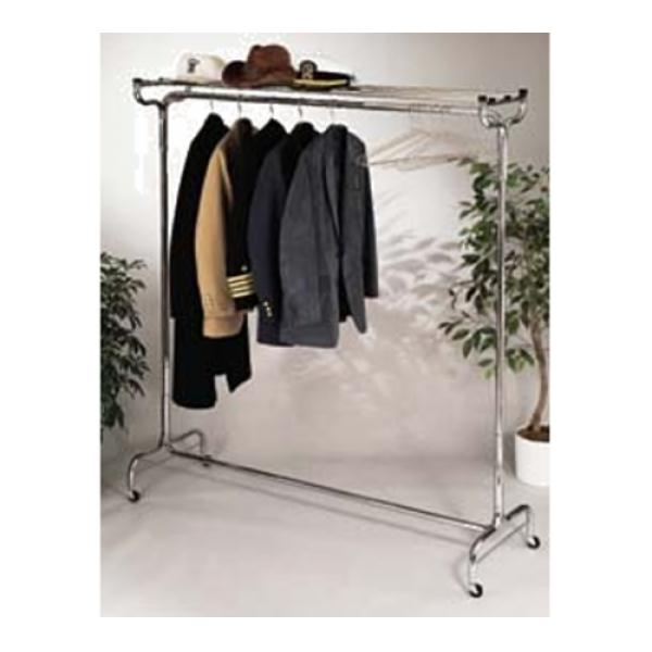 "Portable Valet, 60"" long, single hat rack with 18 perma-hangers, free-wheeling caste"