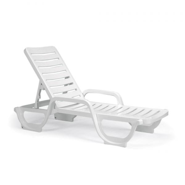 Bahia Stacking Chaise, adjustable, resin, RTA backrest, white