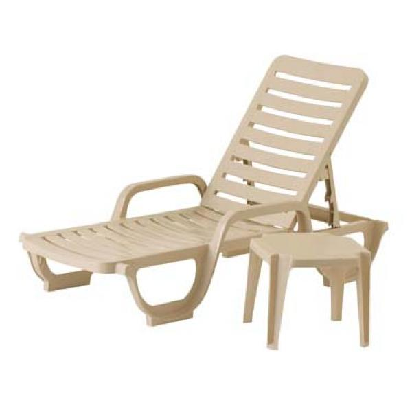 Grosfillex 44031166 bahia stacking chaise adjustable resin rta backrest sandstone - Grosfillex chaise longue ...