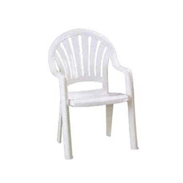 Pacific Fanback Stacking Armchair, designed for outdoor use, one-piece molded UV resistant resin