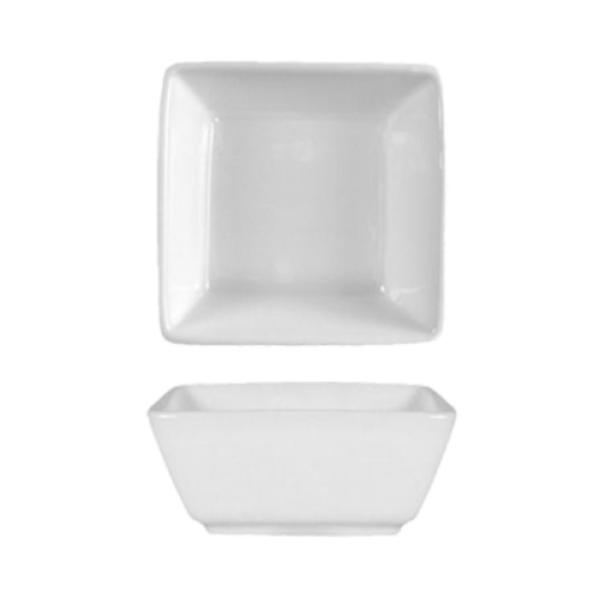 "Ramekin, 2-1/2 oz., 3"" x 3"" x 1-1/4""H, square, rolled edge, fully vitrified, microwave"