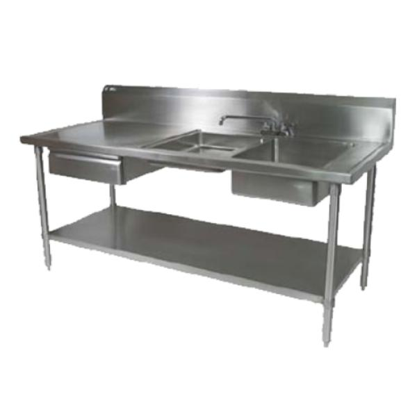 john boos ept6r10-dl2b-72r prep table sink unit, 16/300 stainless