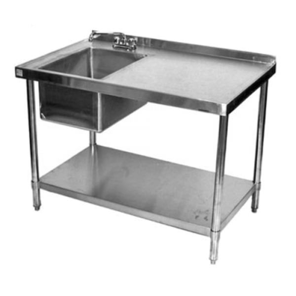 Klingers Stb2472bl Work Table With Prep Sink On Left 72