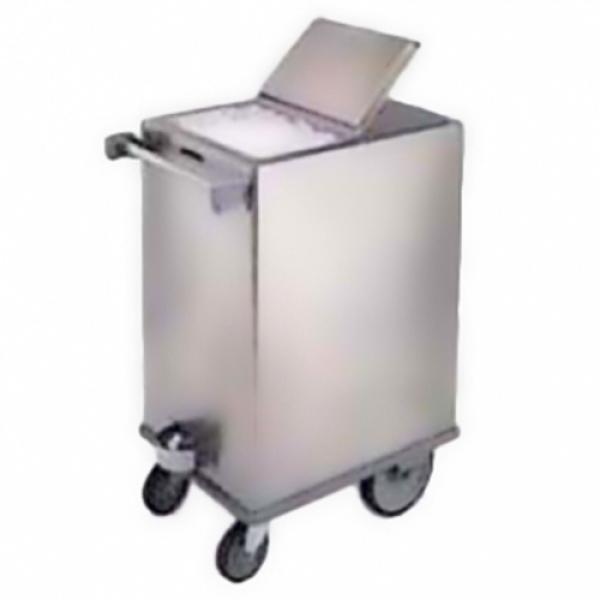 Ice Bin, mobile, 125 lb. capacity, stainless steel with hinged cover, bin attached to base plate