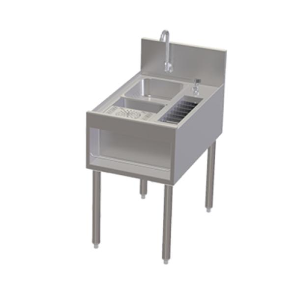 ... Signature Underbar Prep Sink, with glass rinser & tool caddy, 18
