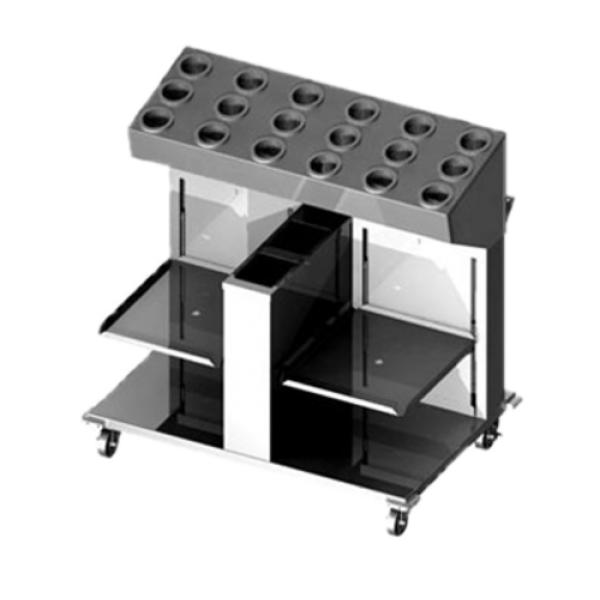 Tray, Silverware & Napkin Dispenser, cantilever style, mobile design, (18) hole silverware