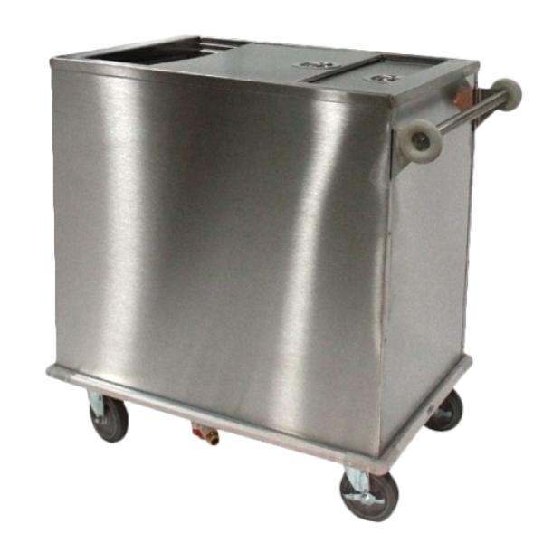 Ice Bin, mobile, 200-lb capacity, stainless steel with sliding cover with tubular push handle, wrap