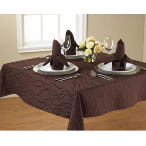 "Tablecloth, 90"" x 90"", overlocked, damask HD™ pattern, 100% spun p"