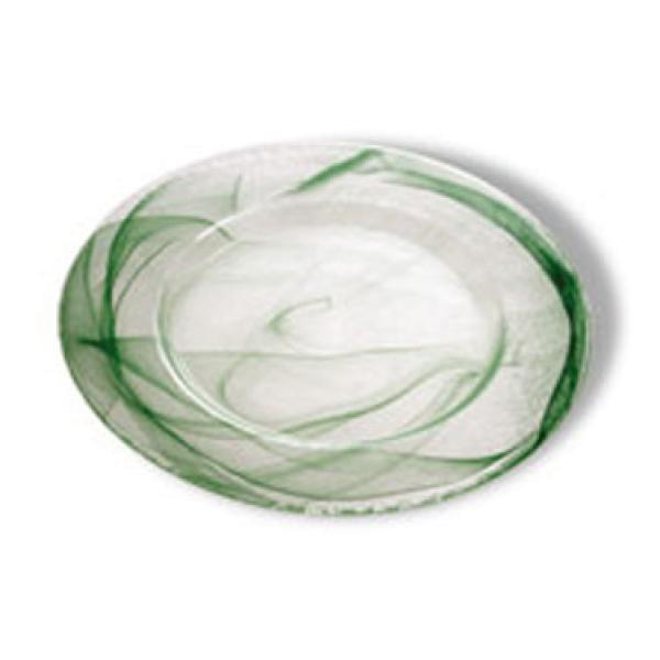 "Tuscany Glass™ Plate, 12-1/2"", shiny standard rim, green, Nuage Collec"