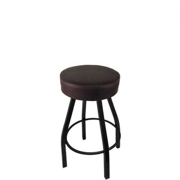 Swivel Bar Stool, counter height, backless, upholstered button top seat, import flat swivel, metal