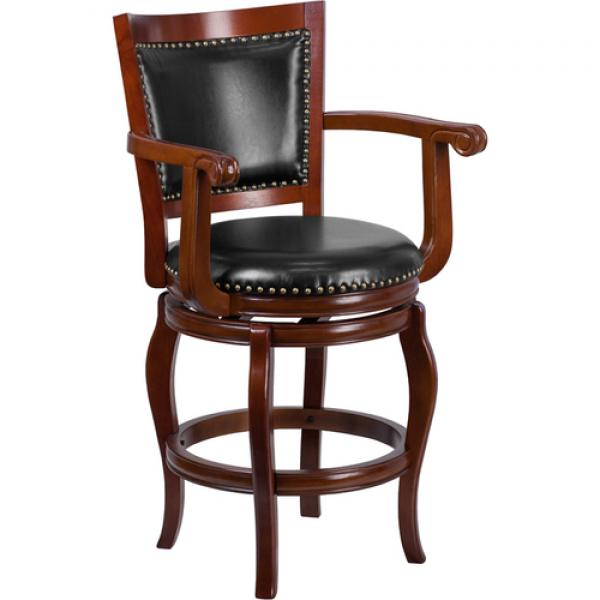 Miraculous Swivel Bar Stool 26H Seat Counter Height Transitional Style With Arms Upholstered Panel Creativecarmelina Interior Chair Design Creativecarmelinacom