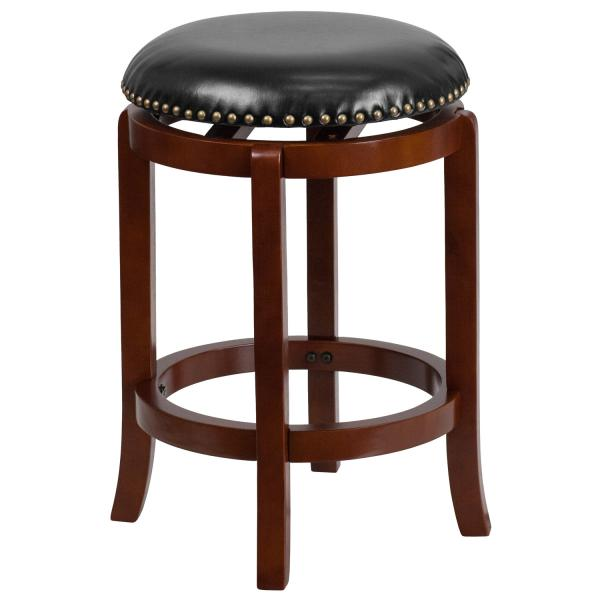 Terrific Swivel Bar Stool 24H Seat Counter Height Transitional Style Backless Upholstered Seat Creativecarmelina Interior Chair Design Creativecarmelinacom