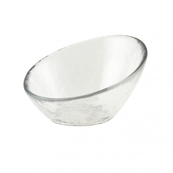 "Glass Bowl, 2 oz., 3-3/4"", angled, glass, dishwasher safe, hammered glass, clear (sold in case"