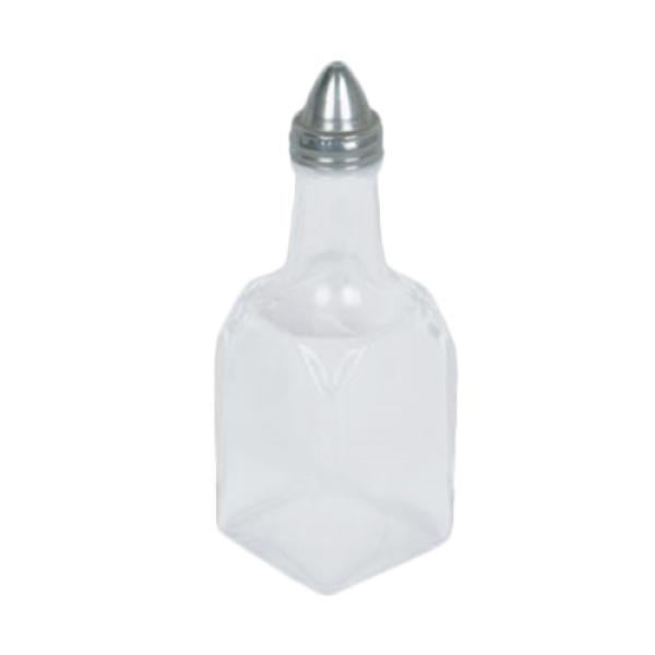 Oil & Vinegar Cruet, 6 oz. capacity, square, elongated neck, glass base, sta