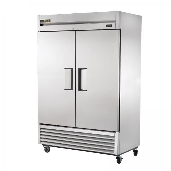 Refrigerator, Reach-in, two-section, stainless steel doors, stainless steel front, aluminum sides