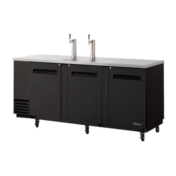 "Beer Dispenser, 90"" L, (3) swing doors, stainless steel countertop and black"