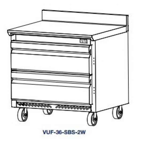 V-Series Freezer, Work Top two-section, reach-in, 8.2 cu. ft., (2) wide draw