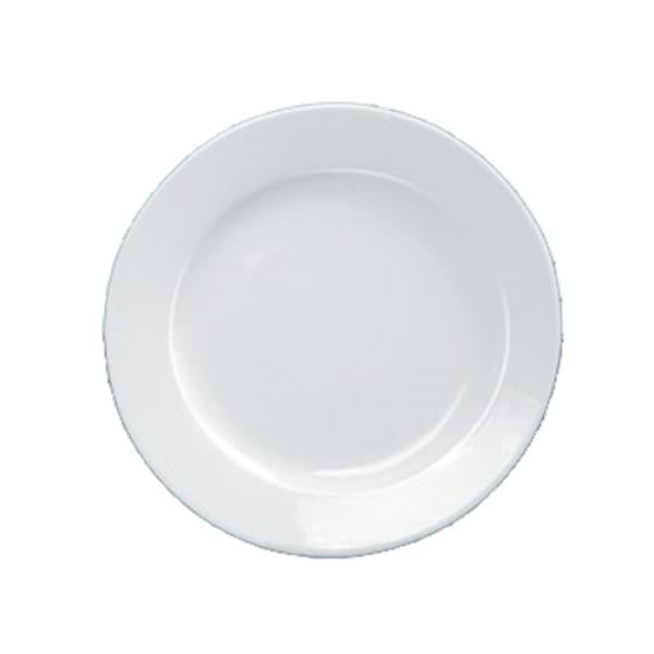 "Abco Plate, 10-1/2"" dia., round, rolled edge, wide rim, dishwasher, oven and microwave safe"