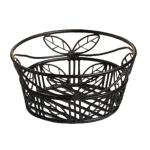 "Bread Basket, 9"" dia. x 3-5/8""H, black leaf design, wrought iron (hand wash only)"